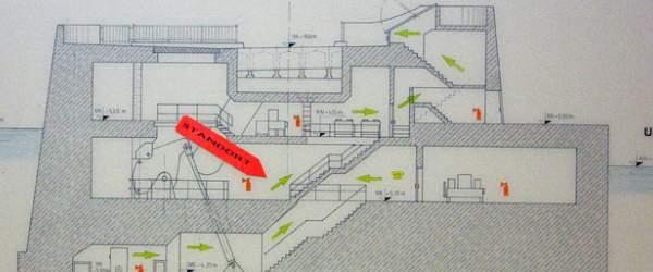 Standort-Plan für die unterirdischen Gänge des Weserwehrs in Bremen