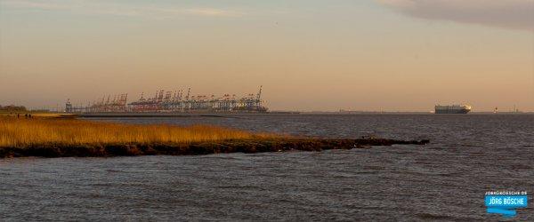 Containerhaven bei Bremerhaven. Blick von Wremens Hafen.