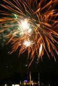 Osterfeuer am Café Sand mit Feuerwerk