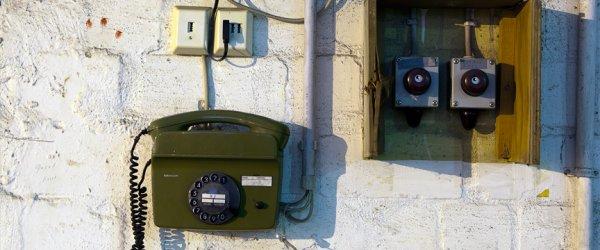 Nostalgisches Drehscheibentelefon im U-Boot-Bunker Valentin, Farge