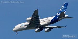 Landeanflug des Airbus A380 in Bremen