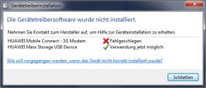 """Gerätetreibersoftware für """"HUAWEI Mobile Connect - 3G Modem"""" wurde nicht installiert"""