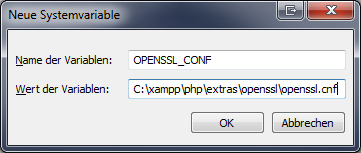 XAMPP 1.7.7 Windows Umgebungsvariable OpenSSL