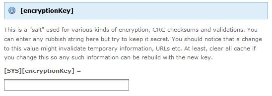 TYPO3 CMS - InstallTool - EncryptionKey